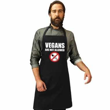 Vegans are not allowed barbecuekeukenschort/ keukenschort zwart heren
