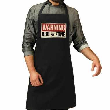 Warning bbq zone bbq keukenschort / keukenschort zwart heren