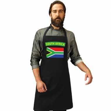 Zuid afrika vlag barbecuekeukenschort/ keukenschort zwart volwassenen