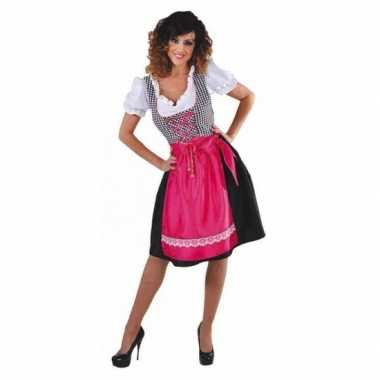 Zwarte dirndl jurk roze keukenschort