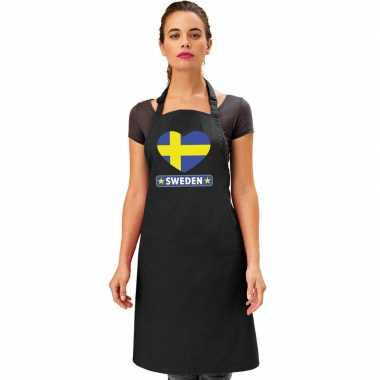 Zweden hart vlag barbecuekeukenschort/ keukenschort zwart