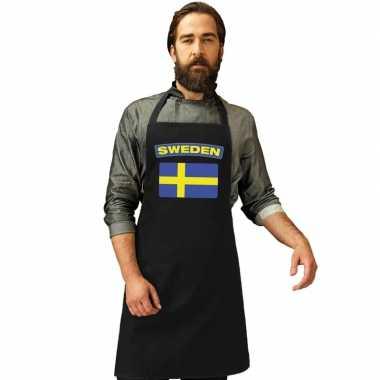 Zweden vlag barbecuekeukenschort/ keukenschort zwart volwassenen