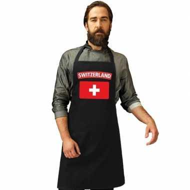 Zwitserland vlag barbecuekeukenschort/ keukenschort zwart volwassenen