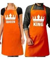 Koppel cadeau set king keukenschort oranje heren queen keukenschort oranje dames